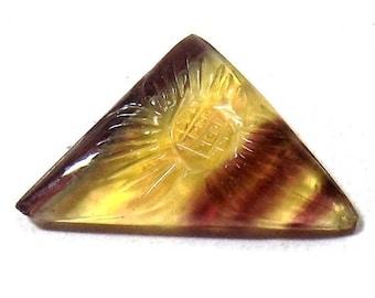 35% Sale -- Multi fluorite , 16 x 27 mm Size, Carved Stone, Fancy Shape, 1 Pc.