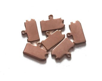 2x Rose Gold Plated Blank Pennsylvania State Charms - M132-PA