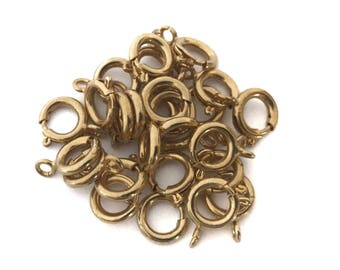 12x Large Gold Plated Spring Ring Clasps - F108