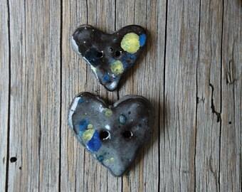Ceramic button handmade. Heart button handmade