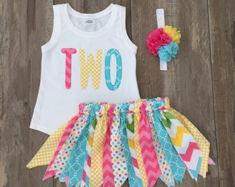 """Girls 2nd Birthday Outfit, Girls """"TWO"""" Birthday Shirt with Matching Fabric Rag Tutu Skirt, Size 2T, Ready to Ship"""