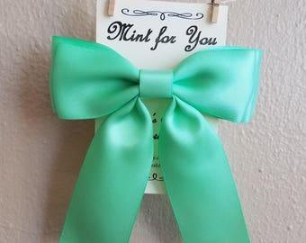 Mint for You, mint green hair bow, satin ribbon, womens, ladies, girls, fancy, barrette, clip