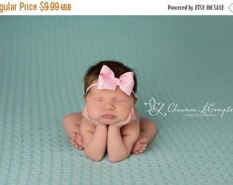 SALE Pink Bow Headband, Mini Bow Headband, Baby Headband, Photo Prop, Pink Headband