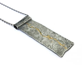 AZURA Solid Fine Silver and 24k Gold Keum Boo Organic Oxidised Pendant & Necklace - Handmade in Australia