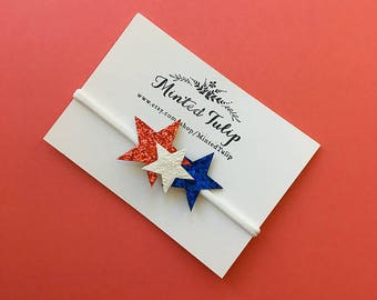 CLEARANCE Fourth of July Red White and Blue Glitter Star Headband or Hair clip Baby Toddler Kids
