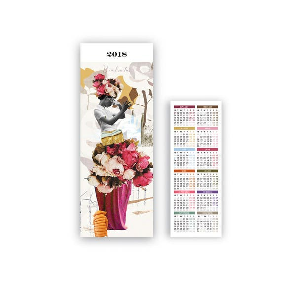 Bambouchic's Bookmark, with 2018 diary on the back.