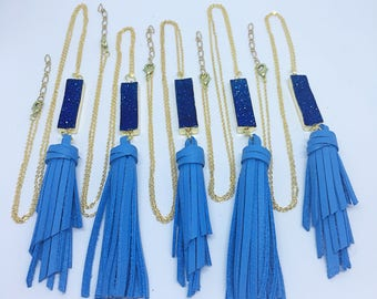 Royal Blue Druzy Leather Tassel Necklace, Gemstone Necklace, Rectangle Geode Necklace, Leather Necklace, gift for her , Free Shipping