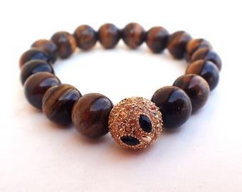 Tiger eye bracelet, beaded bracelet woman. Owl pendant bracelet, healing bracelet woman.