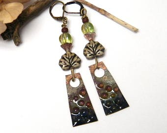 Rustic earrings, enamel on copper, Czech glass beads, brass, women gift idea