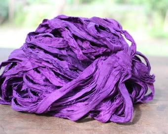 Recycled Sari silk ribbon - Purple Passion 98