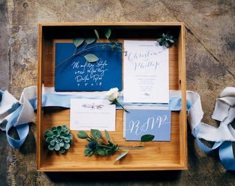 SAMPLE 5x7 Navy Earthy Greenery Natural Wood Wedding Invitation with Details Insert and RSVP