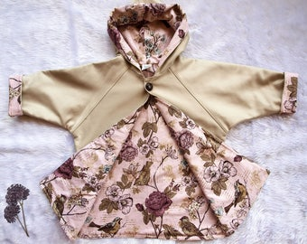Girls Coat,Girls Jacket. Australian Moleskin and fully lined in an adorable mauve rose garden print, Available In size 1 and size 3.Last one