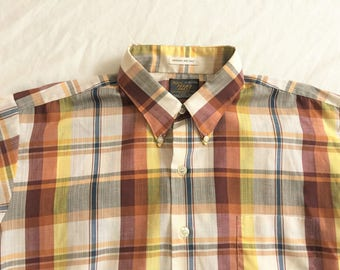 Vintage 60s Sears Perma Prest Brown Yellow Plaid Shirt XL