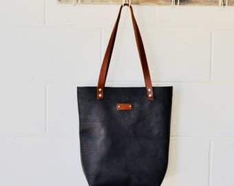 Black Leather Tote Bag - Black Leather Bag- Raw Leather tote bag - Large leather Tote - Leather Shoulder Day Bag - Made in Australia