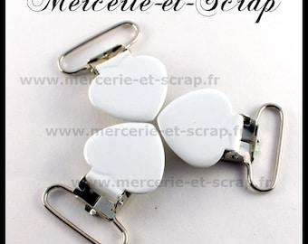 SET of 20 white Suspender clips 25mm heart shape