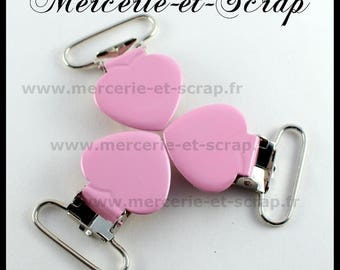 SET of 30 pink strap pins 25mm heart shape