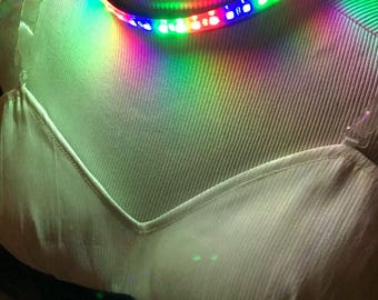 Rainbow LED Collar - Sequential Random Colored LED Necklace Cosplay Lights for Projects Party Costume Dance Robot Helmet Mask Rave Wear