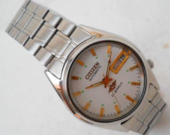 Vintage SITIZEN Silver Plated Watch/Automatic 21 Jewels Day Date Men's Excellent Wrist Watch/Fully Working