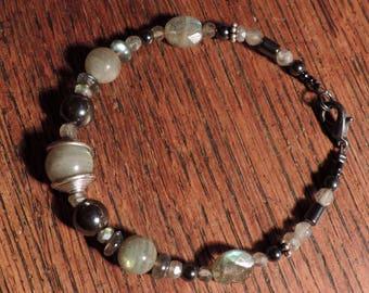 Labradorite and hematite bracelet.
