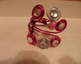 Aluminum & Pearl Cuff Bracelet