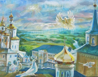 Picture Art Original Oil Painting Church, Pigeons