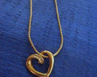Vintage Avon Fancy Rhinestone Heart Necklace Choker,Avon Heart Choker,Gold Heart Necklace,Avon 80's Necklace,Valentine Necklace