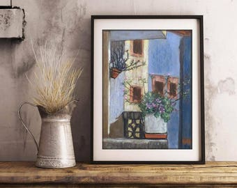 "Reproduction Art Print, ""Neighbor's balcony"", 12"" x 16"", Poster, Flowers, Blue, Impressionist Art, Wall Decor, Rustic decor, gift idea"
