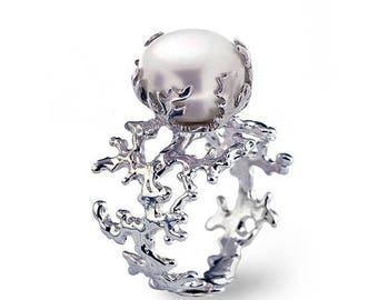 SALE 20% Off - CORAL Unique Pearl Ring, Statement Ring, Pearl Engagement Ring, Large Pearl Ring, Silver Pearl Ring, Freshwater Pearl Ring