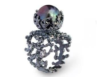 CORAL Black Pearl Ring, Black Ring, Silver Statement Ring, Silver Pearl Ring, Black Engagement Ring, Black Silver Ring