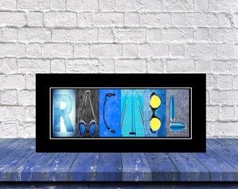 Letter Name Art Swim Print, Swim Print, Name Art Swim Print, Personalized Swim Gift, Gift for Swimmer, Christmas Gift for Swimmer, Swim Gift