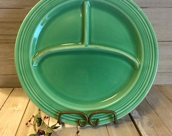 "Vintage Fiestaware 10"" Divided Plate - Green / Light Green"