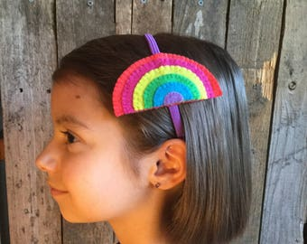 Modern Rainbow Head band (elastic band) with felt (from 100% recycled plastic bottle)