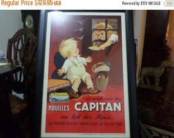 """Save 25% Now Vintage 1930 Original Vintage French Poster for """"Nouilles Capitan"""" by Jacques Saignier Professionally Framed"""