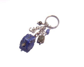 Jewelry bag/door key rocks and Lapis Lazuli and Pyrite beads / charm Omh 9 cm in height