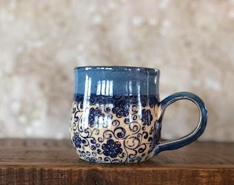 Floral Blue Mug 12oz
