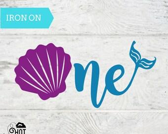 One - Iron On - Decal - Mermaid Party - 1st Birthday - First  - Seashell - Mermaid Theme - Applique - Onesie - Shirt - One Mermaid A19