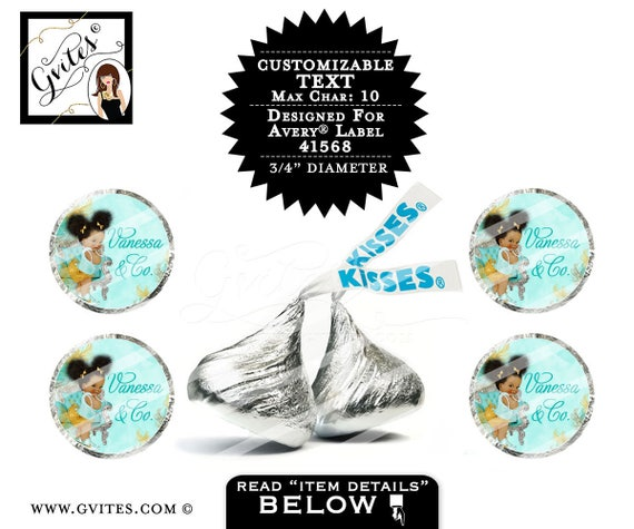 "Hershey kiss stickers, hershey kiss labels, baby shower, baby co label Customizable  PRINTABLE 4x6""/20 Per Sheet {Designed For Avery® 41568}"