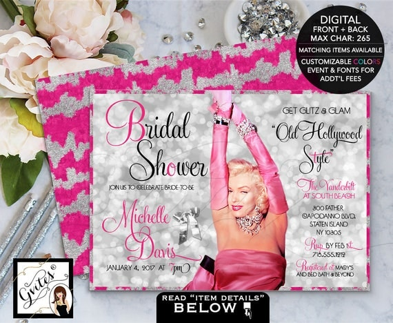 Hollywood theme bridal shower invitation, glitz and glamour, Marilyn Monroe party invites, pink and silver 1950's, digital file 5x7.