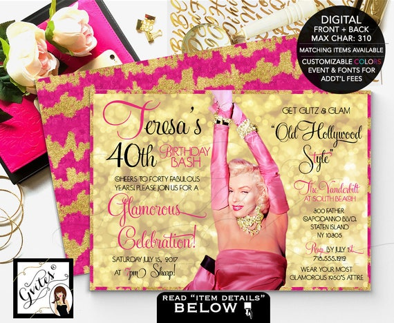 40th birthday invitations, glitz and glam old hollywood style, 1950s glamorous invites, adult bday marilyn monroe pink and gold, digital 7x5