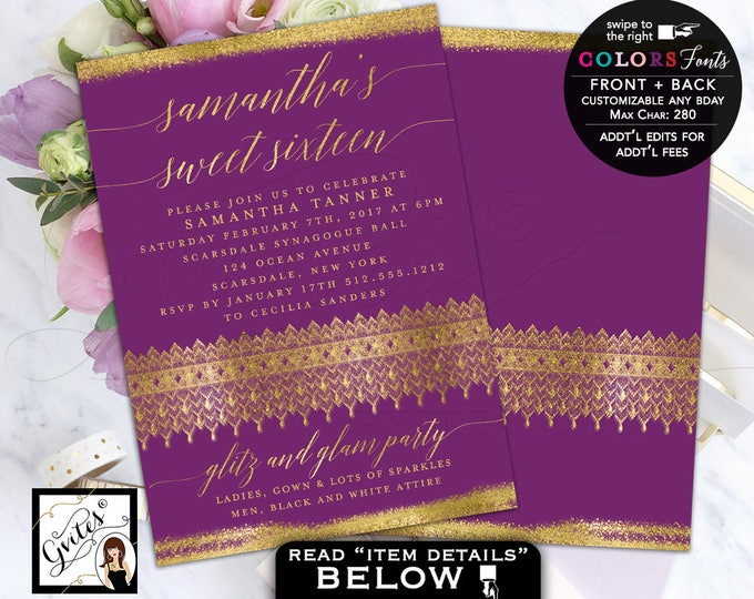 Purple and Gold Invitations, Glitter Sweet 16 Glitz and Glam Invitations, mis quince, quinceanera, 5x7 double sided invites. Digital file.