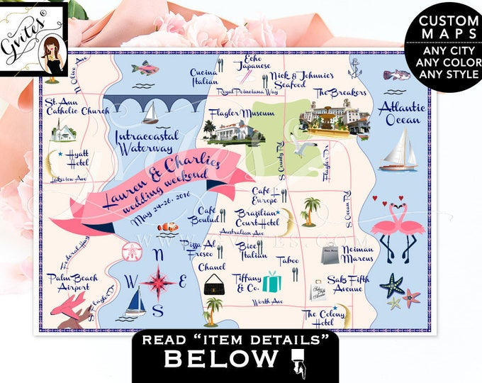 Palm Beach Wedding Map - Personalized Custom Maps, palm beach florida, the breakers, intracoastal, PRINTABLE 7x5 Any Theme/Color/Style