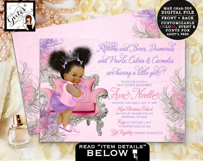 Pink and purple baby shower, african american princess, lavender purple silver and pink, afro puffs baby girl, printable 7x5 double sided.