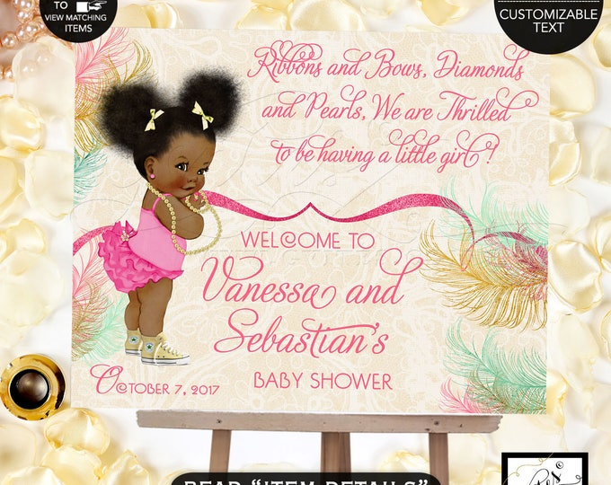 Welcome baby shower sign, baby banner, baby shower sign, baby girl, poster, banner, mint green, ivory beige, gold and pink. DIGITAL FILE!