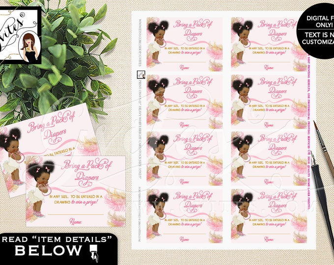 "Diaper Raffle Tickets Printable Pink and Gold Afro Puffs, Vintage Baby Girl African American 3.5x2.5""/8 Per Sheet #RBNAPU004"