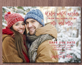 Modern Christmas Save the Date Photo Card Save the Date Holiday Card New Year Card Announce Wedding Photo Winter soon to be Mr. and Mrs.