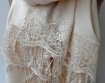 Champagne Pashmına Shawls with champagne French Lace Bridesmaid pashmina Women Shawls Wedding Fashion Trend Gifts for mother Wedding Wraps