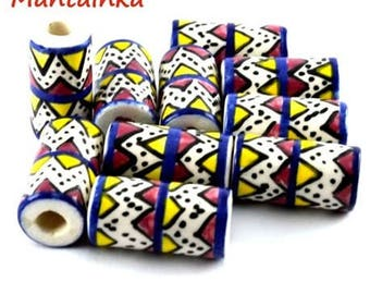 Set of 10 Peruvian ceramic tube beads hand painted and glazed Cusco Peru Inca beads