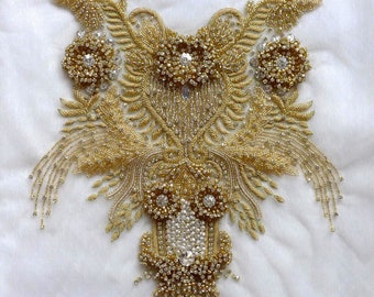 Gold/Silver Super High-grade imitation large Rhinestone patches handmade embroidery wedding dress accessories 1 piece 35X35cm
