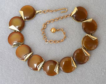 Charel Thermoset Disc Choker Necklace Caramel Colored Vintage
