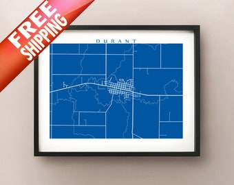 Durant, IA Map Print - Iowa Art Poster
